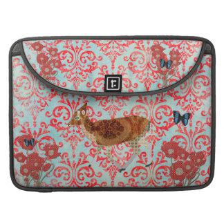 Blue Boho Butterflies Vintage Fawn  Damask Macbook MacBook Pro Sleeves