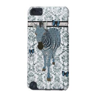 Blue Boho Butterflies & Zebra Grunge Damask Case iPod Touch 5G Cases