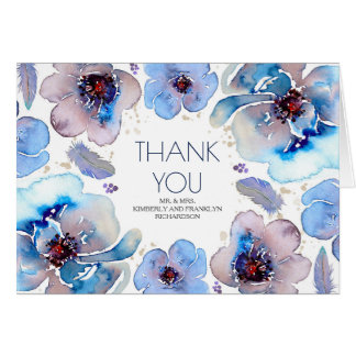 Blue Boho Watercolor Floral Wedding Thank You Card