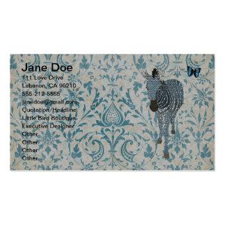Blue Boho Zebra & Butterfly Business Cards