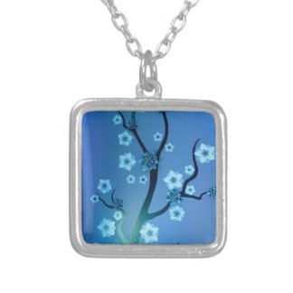 Blue Bokah Blossom Branches Silver Plated Necklace