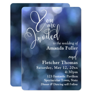 Blue Bokeh Light & Typography 32 Wedding 1 Card