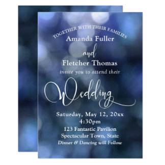 Blue Bokeh Light & Typography 32 Wedding 3 Card