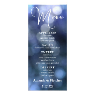 Blue Bokeh Light & Typography 32 Wedding Menu