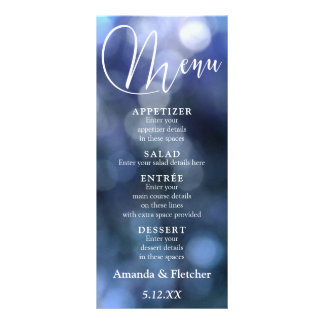 Blue Bokeh Light & Typography 32 Wedding Menu 2
