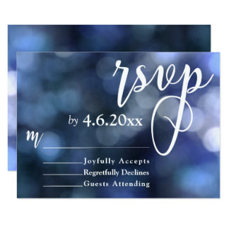 Blue Bokeh Light & Typography 32 Wedding RSVP Card