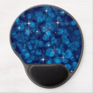 Blue Bokeh Lights and Snowflakes Gel Mouse Pad