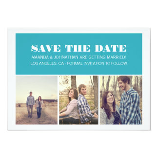 Blue Bold Photo  Save The Date Invites
