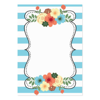Blue Bold Stripes Modern Flowers Business Card