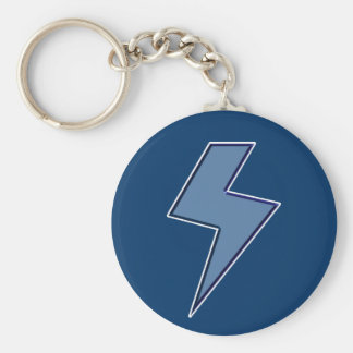 Blue Bolt Basic Round Button Key Ring