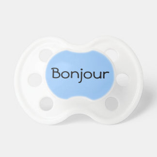 Blue Bonjour Hello in French Cute Baby Binkie Pacifier