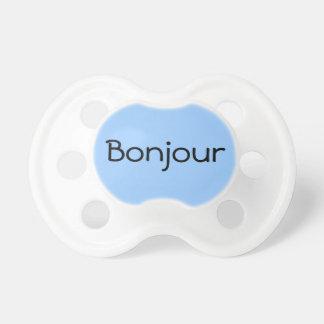 Blue Bonjour Hello in French Cute Baby Binkie Pacifier