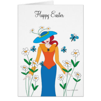 Blue Bonnet Easter Girl Card