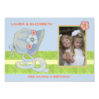 Blue Bonnet Siblings - Photo Birthday Party  Invit 13 Cm X 18 Cm Invitation Card