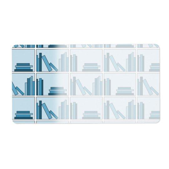 Blue Books on Shelf. Shipping Label