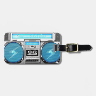 Blue boombox luggage tag