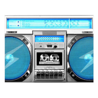 Blue boombox post card