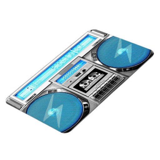 Blue boombox vinyl magnets