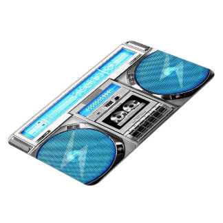 Blue boombox rectangular photo magnet