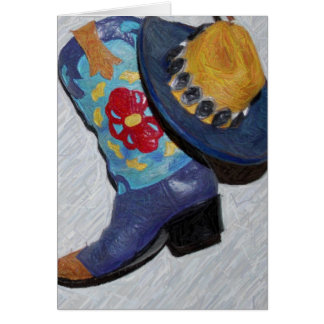 blue boot pencil card