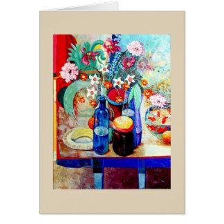 Blue Bottle, Flowers, Goldfish, and Ladybug Card