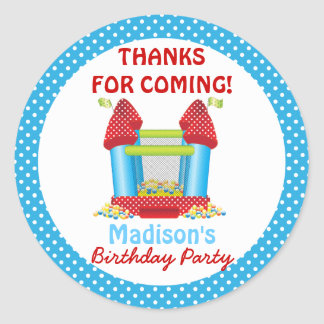 Blue Bouncy Bounce House Birthday Favor Sticker