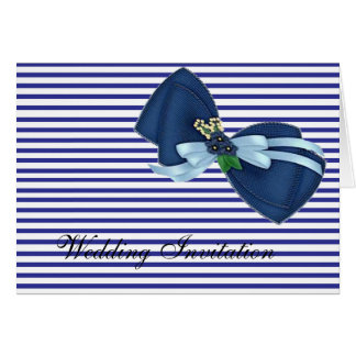BLUE BOW AND BLUE STRIPES WEDDING INVITATION CARD