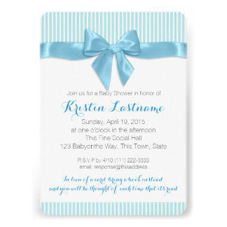 Blue Bow and Pin Stripes Baby Shower Cards