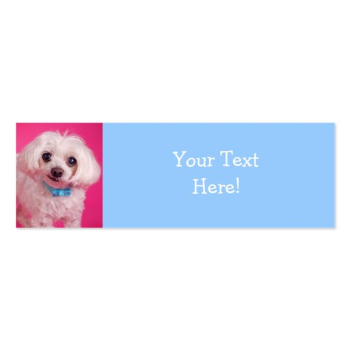 Blue Bow on Cute White Dog Business Cards
