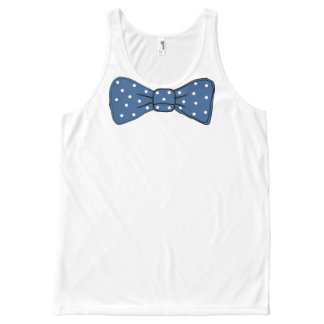 Blue Bow Tie Print with White Polka Dot Pattern All-Over Print Singlet