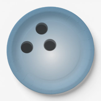 Blue Bowling Ball 9 Inch Paper Plate
