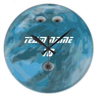 Blue bowling ball clock