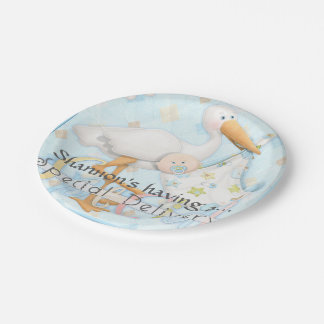 Blue Boy Baby Shower Party Paper Plates