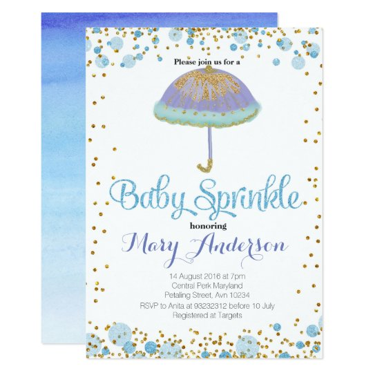 BLUE BOY Baby Sprinkle Invitation