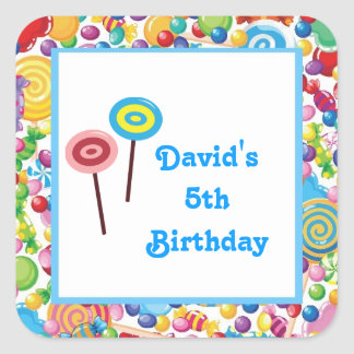 Blue Boy Candy Shop Birthday Party Favor Labels