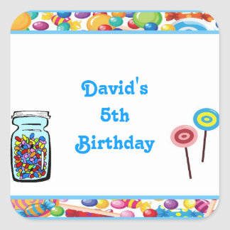 Blue Boy Candy Shop Birthday Party Favor Labels Square Sticker