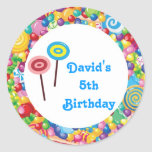 Blue Boy Candy Shop Birthday Party Favour Labels Round Sticker