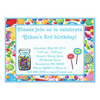 Blue Boy Candy Shop Invitation