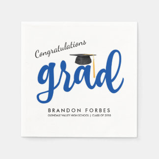 Blue Boy Congrats Grad Class of 2018 Graduation Disposable Napkin