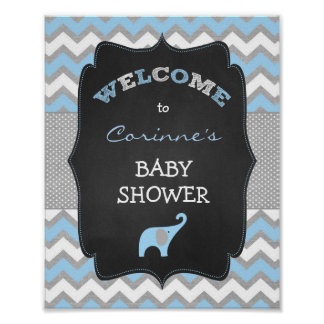 Blue Boy Elephant Baby Shower 8x10 Welcome Sign Poster