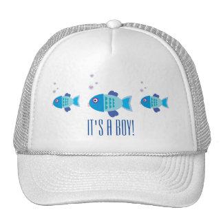 Blue Boy Fish Gender Reveal Baby Shower Cap