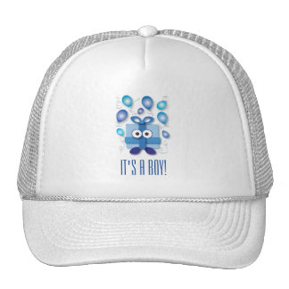 Blue Boy Gift Box Gender Reveal Baby Shower Cap