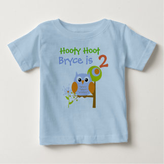 Blue Boy Owl Personalized Birthday T-shirt