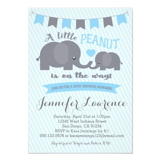 Blue Boy Peanut Elephant Baby Shower Invitation  ZazzleComAu