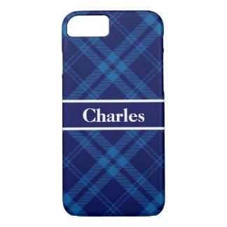 Blue Boy Plaid Monogram iPhone 8/7 Case