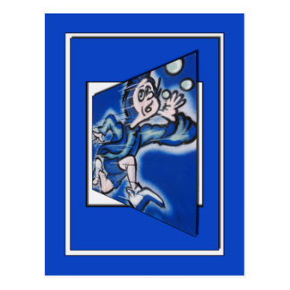 blue boy runnin' (vert frame) postcard