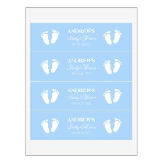 Blue boys baby feet footprints custom babyshower water bottle label