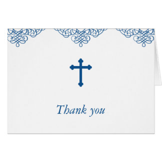 Blue Boys Baptism/Christening Thank You Note Card