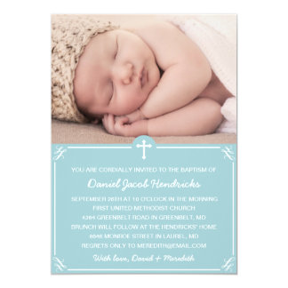 Blue Boys Photo Baptism/Christening Invitation