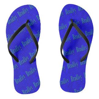 Blue Bradley Name Logo On Blue Mosaic, Thongs